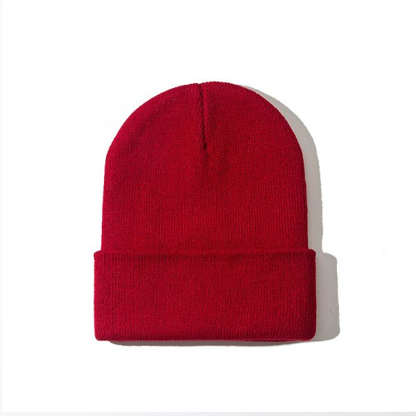 Pure color warm knitted hat